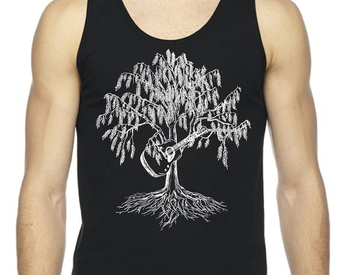 Mens Tank Tops Muscle Shirt Guitar Player Gifts for Boyfriend Husband Willow Tree of Life