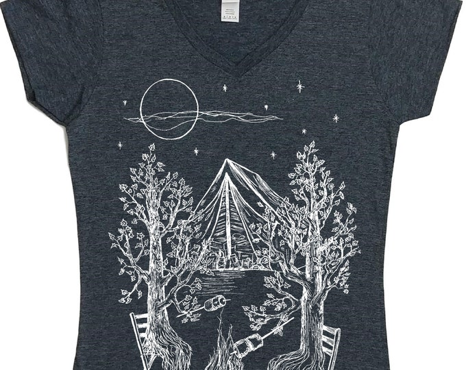 Womens Camping TShirt Vneck - Campfire Tshirt - Bonfire Tshirt - Women's Forest Shirt - Outdoors Tshirts for Women - Funny Camping Shirt