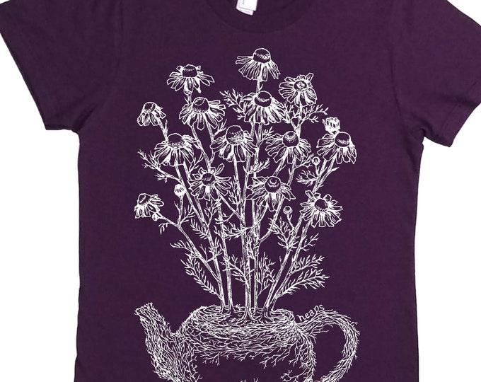 Tshirts for Women - Unique Styles Shirt - Chamomile Tea - Tea Drinker Shirt - Plant Tshirt - Nature Shirt - Tea Drinker Gift - Tea Pot