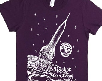 Womens Rocket Tshirt - Moon T Shirt - Womens Space Shirt - Rocket Tee Shirt Space Tourism - Solar System Shirt - Galaxy Tee - Vintage Rocket