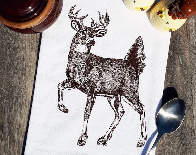 Kitchen Tea Towel - Screen Printed Cotton Flour Sack Towel - Brown Buck Cup Towel - Brown Towel - Deer - Unique Birthday Gift