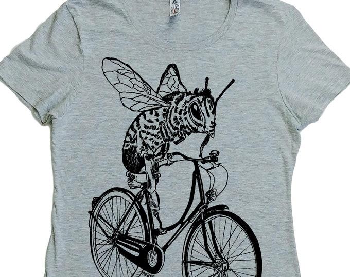 Womens T Shirt - Regular Fit Tee - Funny Womens T Shirts - Fashion T Shirts - Cool Womens Tops - Womens Graphic Tee - Bee on a Bike