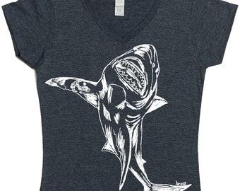 Shark TShirts -  Nautical Tshirt - Tshirt Women - V Neck TShirt - Tees for Women - Graphic Shirt for Woman - Great White Shark - Charcoal