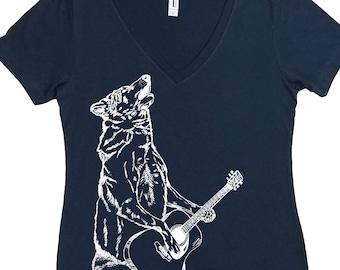 V Neck T Shirt - Funny Tshirts Women - Musician TShirts for Women - Womens Tee - Wolf Tee Shirt - Guitarist Tee Shirt - Womens T Shirts