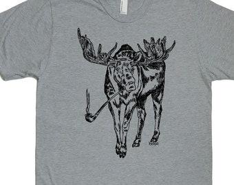 Mens TShirt - Pipe Smoking Moose TShirt - Forest Animal T Shirt - Cool T Shirts - Smoking T Shirt - Mens Funny Tees - Boyfriend Tshirts
