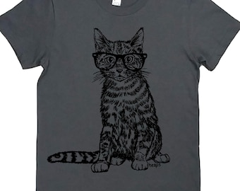 Cat with  Glasses Graphic Tees for Women - Cat TShirt - Hipster TShirts - Optometrist TShirts - Cat Lover Tee Shirt - Gift for Women