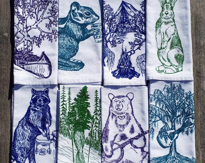 Cotton Napkins - Printed Cloth Napkins Set of 8 - Reusable Napkins - Forest Napkins - Funny Napkins Set - Table Napkins Place Setting - Tree
