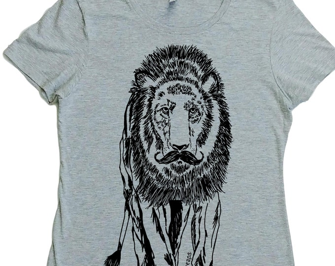 Womens TShirt - Regular Fit Tee - Lion Shirt - Mustache Tshirt - Hipster Clothing - Wild African Animals - Gift for Wife - Cool T shirts