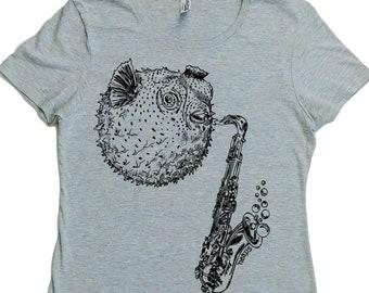 TShirt for Women - Regular Fit - Blowfish Saxophone Tshirt - Summer Tshirt - Nautical Tshirt - Womans Tee shirt - Grey Tshirt - Screen Print
