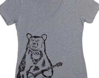 Tshirts for Women - Banjo Bear Tshirt - Womens V Neck T Shirts - Funny Tshirt for Women S M L XL 2XL - Bluegrass Music Tee - Graphic Tshirt