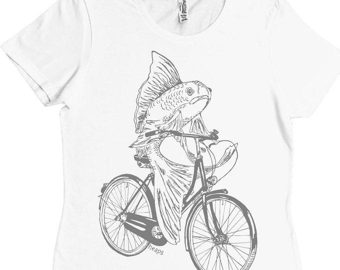 Womans Tshirt - Regular Fit Tee - Fish on a Bike Tshirt - Funny Fashion T Shirts - White TShirt - Summer Tops - Printed Tshirts for Woman