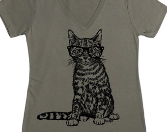 Woman Cat Shirt - Funny TShirts - Animal Tshirts - Cat Wearing Glasses - Grey Tshirt - Cat Tees - Cat Lover Gift - Cat Shirt