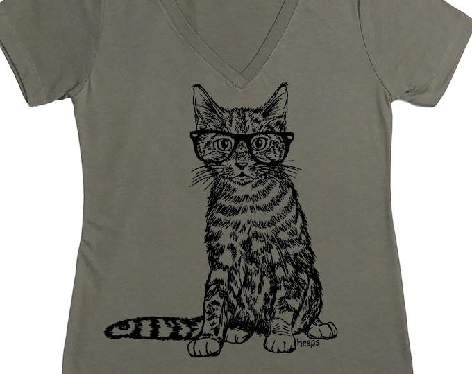 Woman Cat Shirt - Funny TShirts - Animal Tshirts - Cat Wearing Glasses - Grey Tshirt - Cat Tees - Cat Lover Gift - Cat Shirt