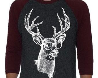Unisex Baseball T Shirt - Deer Shirt Women Men - Deer Gift - Raglan Shirt for Women or Men - Funny Graphic Tees for Women Men