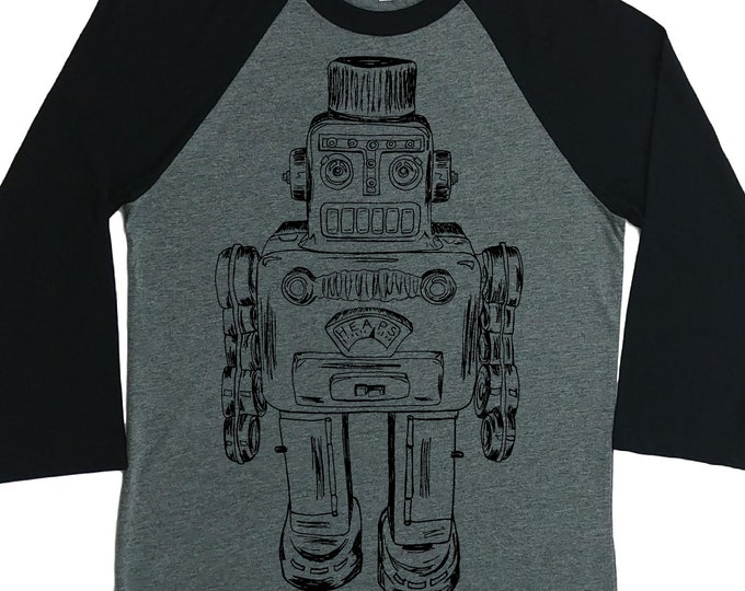 Womens Baseball Tee - Unisex Fit - Vintage Space Robot - Raglan Tees for Woman - Sci Fi Shirts - Funny Graphic Tshirts for Woman