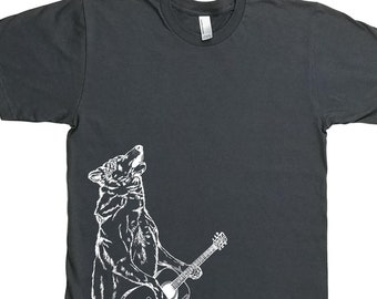 Funny Mens TShirt - Guitar Tshirt for Men - Mens Gift - Gifts for Him - Graphic Tee - Charcoal Grey - Tee Shirts for Men - Wolf Tshirt