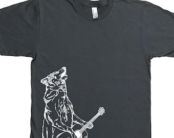 Gift for Men - Funny Mens TShirt - Guitar Tshirt for Men - Mens Gift - Gifts for Him - Graphic Tee - Charcoal Grey - Wolf Tshirt