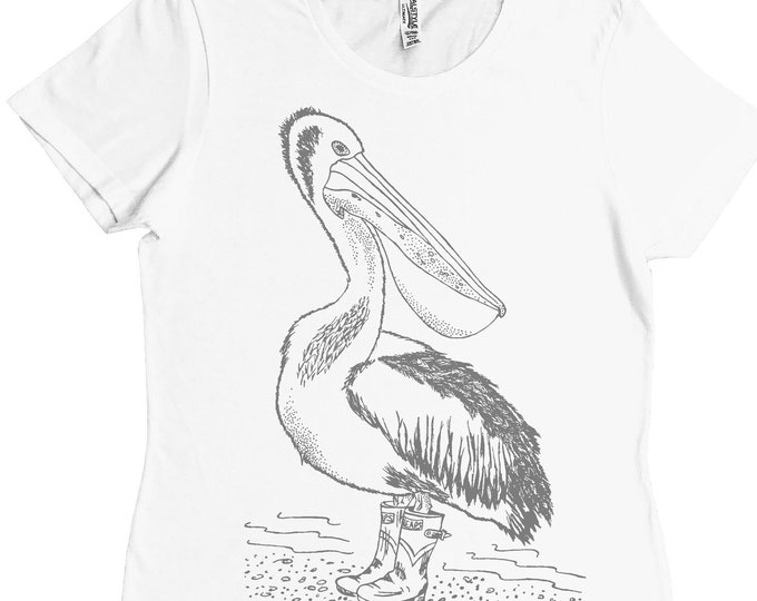 Womans Regular Fit Tee - Pelican Tshirt - White Tshirt - Tee Shirt for Women - Gift for Her - Graphic Tee - Bestie Gift - Gifts for Wife