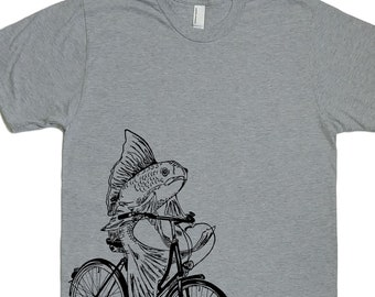 Mens T Shirt - Fish on a Bike Tee - Animal T Shirt - Nautical T Shirts - Funny T-shirt - Mens Fish Tee Shirt - Funny Tees S M L XL 2XL