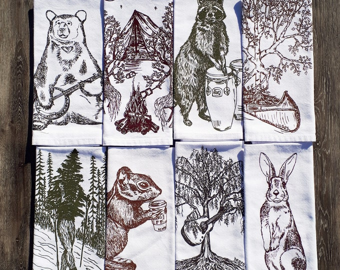 Cotton Napkins - Multi Color Screen Printed Napkin Set of 8 - Wilderness Table Accessories - Fabric Napkins - Gifts for Friends