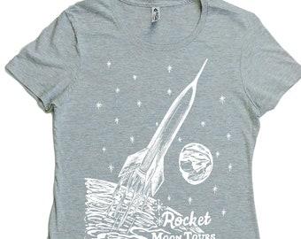 Woman T Shirt - Regular Fit Tee - Space Rocket T Shirts - Sci Fi Tshirt - Outer Space Tshirt - Mars Tshirt - Moon Tshirt - Cool Womens Tops