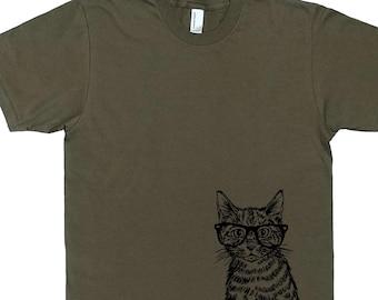 Mens T Shirt - Hipster Cat T Shirt - Hipster Clothing - Animal Tshirt - Man Gift - Graphical Tees - Screen Printed Tees - Man Tshirt