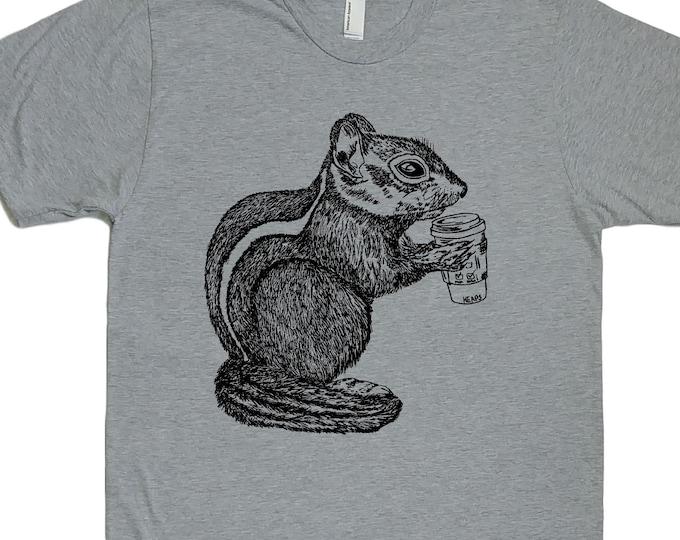 Mens TShirt - Coffee Drinking Chipmunk TShirt - Animal TShirts - Cool TShirts - Mens Funny T Shirt - Mens Funny Tees - Boyfriend Gift Idea