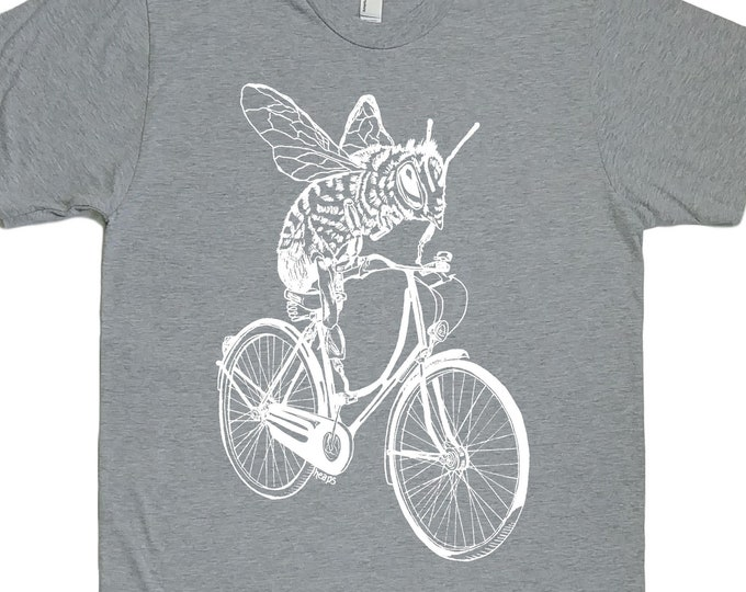 Funny TShirts for Men - Mens Gift - Boyfriend Tshirt - Bee Tees - Bike TShirt - Biking Cycling - T Shirts for Man - Honey Bee TShirt - Grey