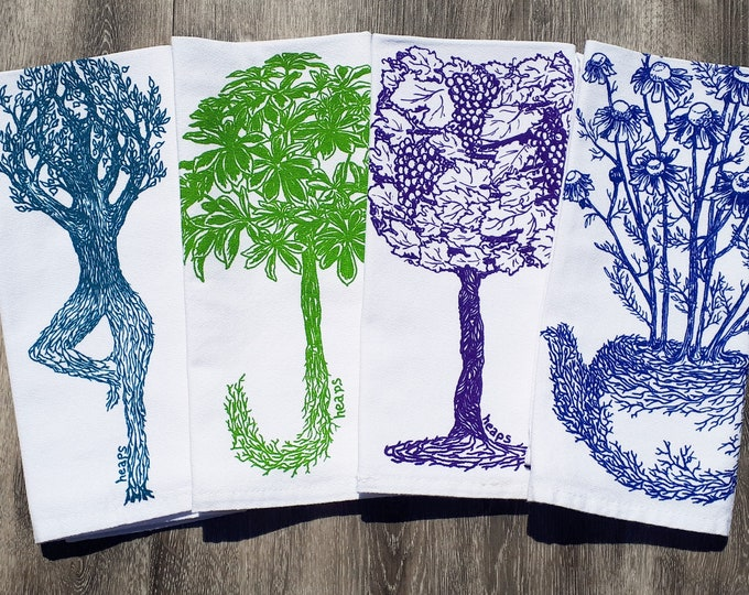 Garden Plants Cloth Napkins - Modern Napkins - Screen Printed Cotton Napkins - Perfect for Wedding Registry - Teal Green Purple Blue