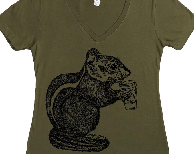 Womens T Shirts - But First Coffee - Chipmunk T Shirt - Coffee Tshirt - Funny TShirts - Coffee Drinker - Deep Vneck - Gift for Women