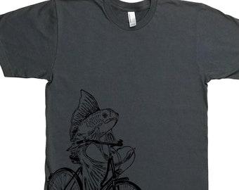 Man Funny Tshirt- Cycling Shirt - Mens Tshirt - Bicycle Gift - Fish on a Bike T Shirt - Husbands Gifts