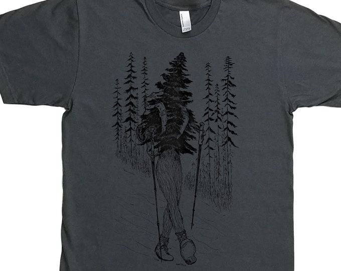 Hiking Shirt for Men - Man Tee Shirt - Hiker Shirt - Adventure Tshirt - Forest Shirt - Nature Tshirt - Trees Tshirt Hiker Boots Hiker Poles