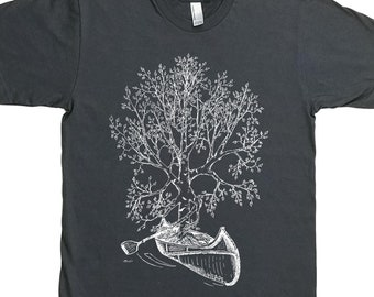 Canoeing T Shirt for Men - Man T Shirt - Man Gift - Canoe T shirt - Tree TShirt - Birch Bark Canoe - Canoe Gift - Funny Canoeing Tees