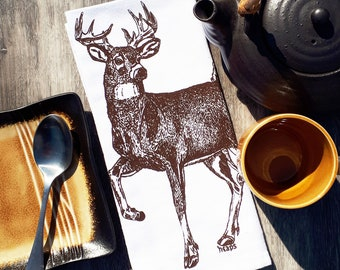 Set of 4 Dinner Napkins - Screen Printed Cotton Napkins - Brown Buck Deer Woodland Theme - Washable and Reusable - Unique Gift