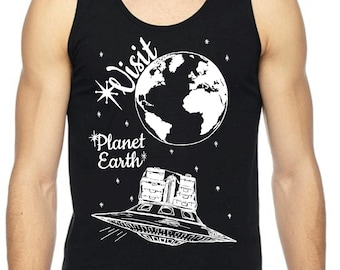 Mens Tank Top Sci Fi Space Aliens UFO Shirt Summer Beach Muscle Workout Exercise Black Top