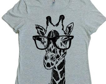 Womens TShirt - Regular Fit Tee - Giraffe TShirt for Woman - Womens Graphic Tee - Cool Womens Tops - Trendy Printed Tshirts - Grey Tee Shirt