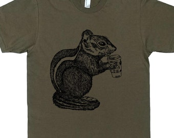 Mens T Shirt - Coffee Drinking Chipmunk T Shirt - But First Coffee - Coffee Tshirt - Funny T Shirts - Man Funny Tshirt - Man Gift