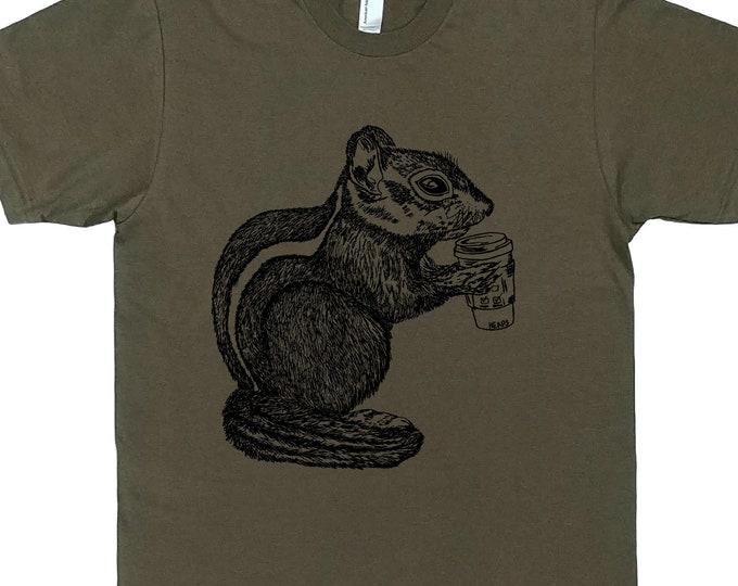 Mens T Shirt - Coffee Drinking Chipmunk T Shirt - But First Coffee - Coffee Tshirt - Funny T Shirts - Man Funny Tshirt - Man Gift