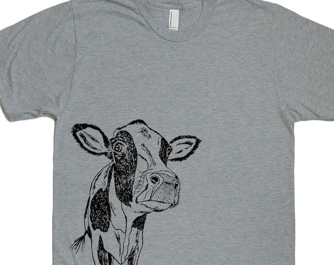 Mens TShirt - Cow Tshirt - Farm Animal TShirt - Cool TShirts - Mens Grey TShirt - Cow Tees - Husband Gift Idea - Boyfriend Tshirts
