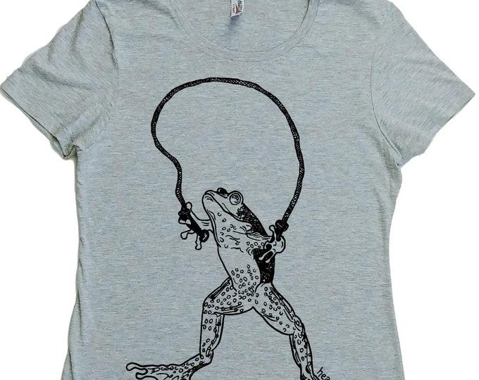T Shirts for Women - Regular Fit Shirt - Reptile Clothes - Frog Tshirt - Jumping Rope - Skipping - Womens Graphic Tshirt - Womans Tee Shirt