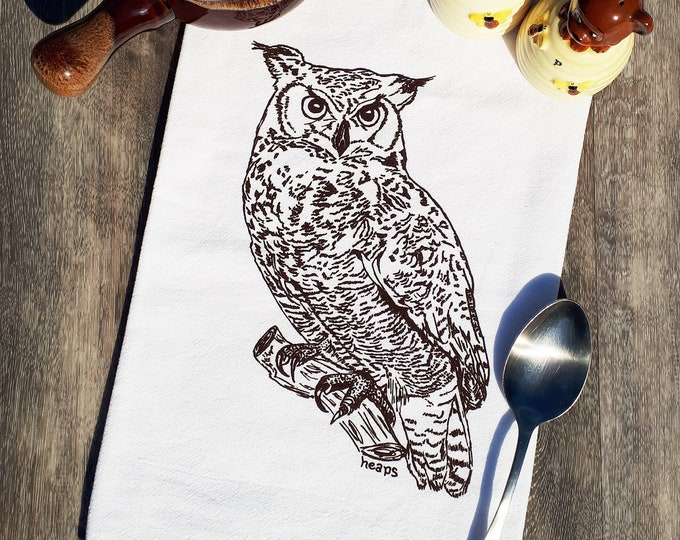 Tea Towel with a Screen Printed Chocolate Brown Owl - Flour Sack 100% Cotton Towel - Great for Wedding Gifts