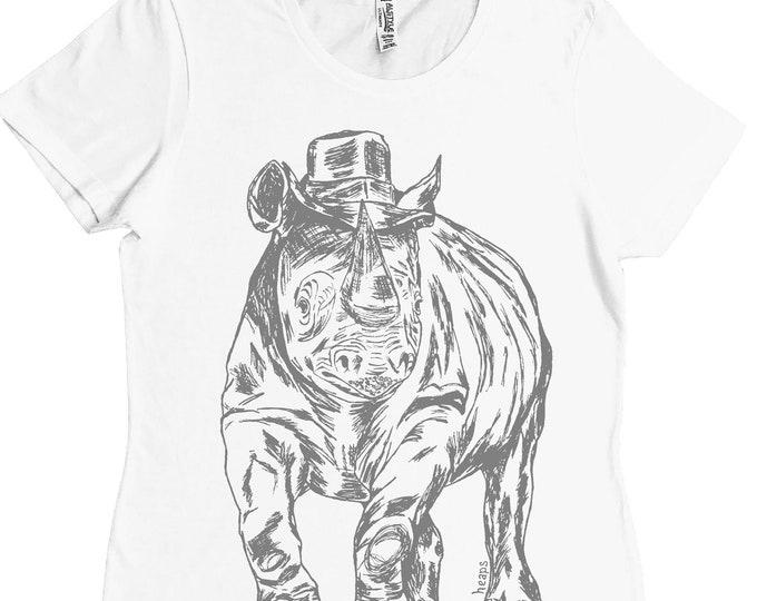 Ladies TShirt - Regular Fit Tee - Funny Womens T Shirts - Rhino TShirt - Beach Tshirt -Summer Tees - Printed Tshirts - White Tee Shirts