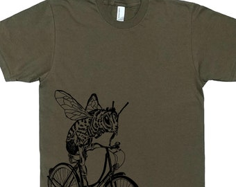 Funny Graphic Tee - Man T Shirt - Army Green T Shirts - Crew Neck Tees - Honey Bee Tee Shirts - Bee on a Bike S M L XL 2XL