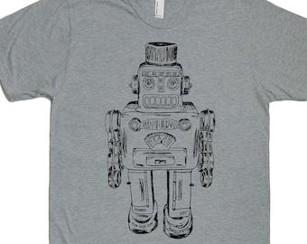 Robot Tshirt Men – Boyfriend Tshirt - Retro Mens Tshirt – Robot Sci Fi T Shirt – Robot Nerd Shirt – Science Space Robot Top - Vintage Robot