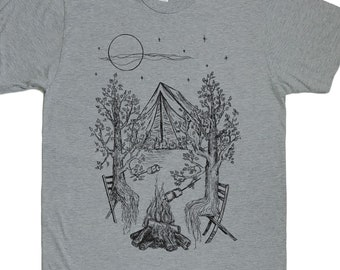 Camping T Shirt for Men - Outdoorsman Gift - Man Tshirt - Funny Camping Shirt - Camping Tee - Nature Tshirt - Trees Tshirt - Tenting