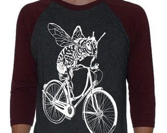 Unisex Baseball Raglan Tee for Men Women - Baseball TShirt Women or Men - Cycling Shirt Women - Bicycle T Shirt - Honey Bee - Raglan Tee Men