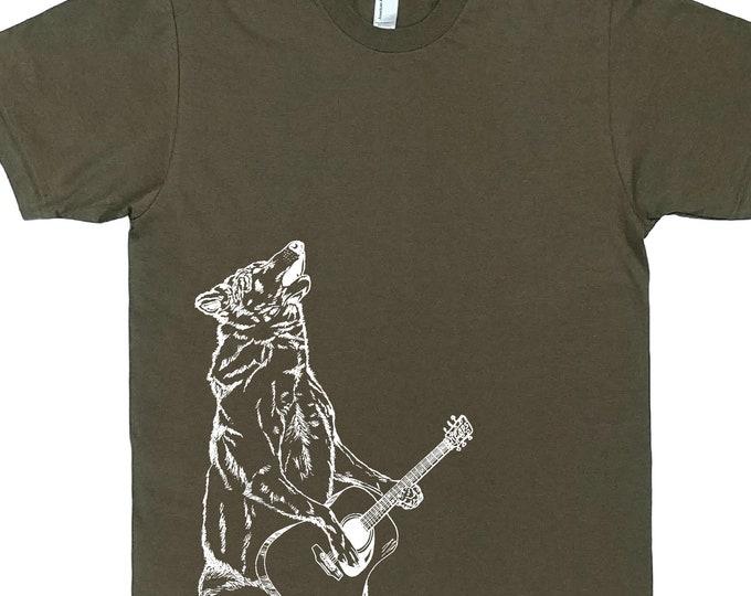Man Gift - Funny Mens Shirt | Howling Wolf Tshirt | Mans T Shirt | Hipster Tshirt | Funny T-Shirts | Mens Tees | T Shirts for Men Army Green