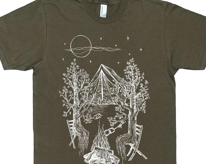 Mens Camping T Shirt - Man Tee Shirt - Trees Tshirt - Forest Shirt - Nature Tshirt - Funny Camping Shirt - Outdoorsman Gift Camping Tee