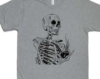 Pipe Smoking Shirt - Pipe Smoker Gift - Smoking Tshirt - Smoker Gift - Pipe Shirt - Skeleton Shirt - Mens Tshirt - Funny Retro Tshirt