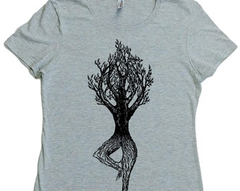 Womens TShirt - Regular Fit Tee - Yoga Tree TShirt - Yoga Clothes for Woman - Yoga Tops - Yoga Exercise - Womens Graphic Tee Yoga for Woman